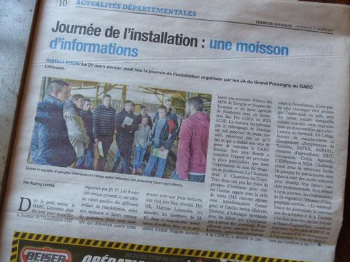 Photo : Mathias Limouzin, ancien élève de la MFR du Val de l'Indre retient toute l'attention de nos élèves de Terminale CGEA.