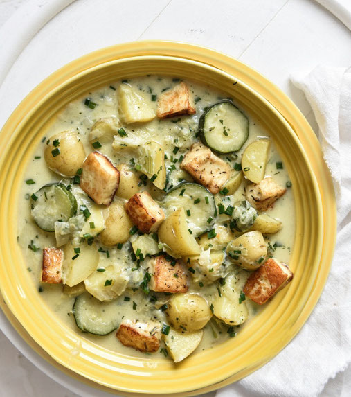 Lauch Kartoffel Topf mit Halloumi, Thermomix, vegetarisch