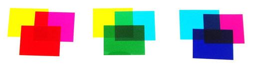 mélange de couleurs avec des filtres colorés jaune cyan magenta rouge vert bleu