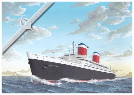"""SS"""" United States """" auf Ostkurs nach Europa. Sie war das scnellste Passagierschiff der Welt. Aquarell"""