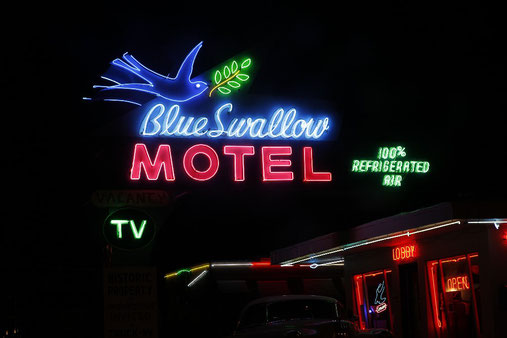 "Neon sign of the famous ""Blue Swallow"" Motel in Tucumcari, New Mexico"