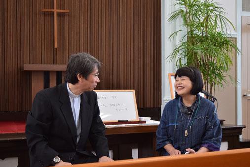 2016年5月29日の朝9時から、インタビュー礼拝にお迎えした明美さんの素敵な笑顔です。