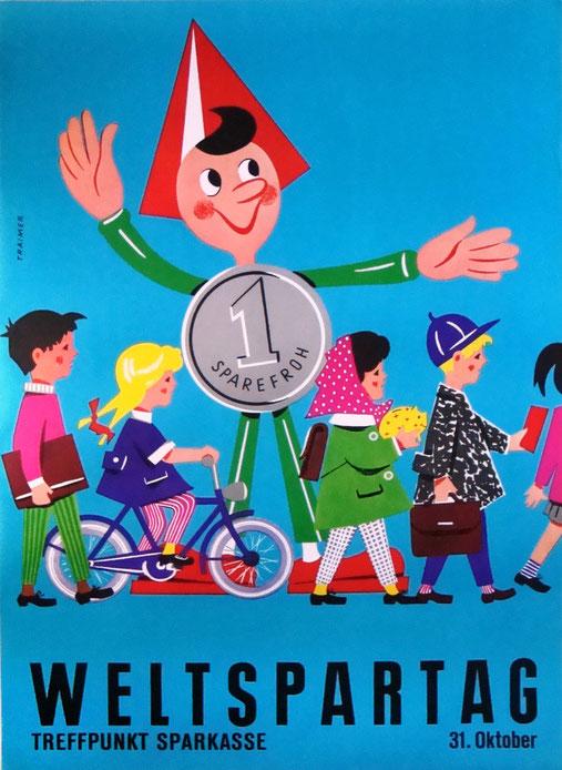 Sparefroh am Weltspartag. Plakat von Heinz Traimer, Sparkasse nach 1960.
