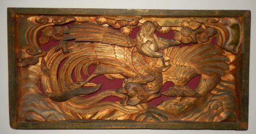 bois sculpté chine Phoenix bois doré art chinois