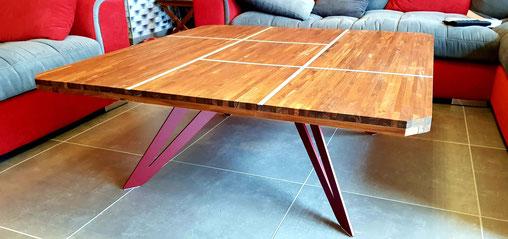 pied de table métal coloris rouge