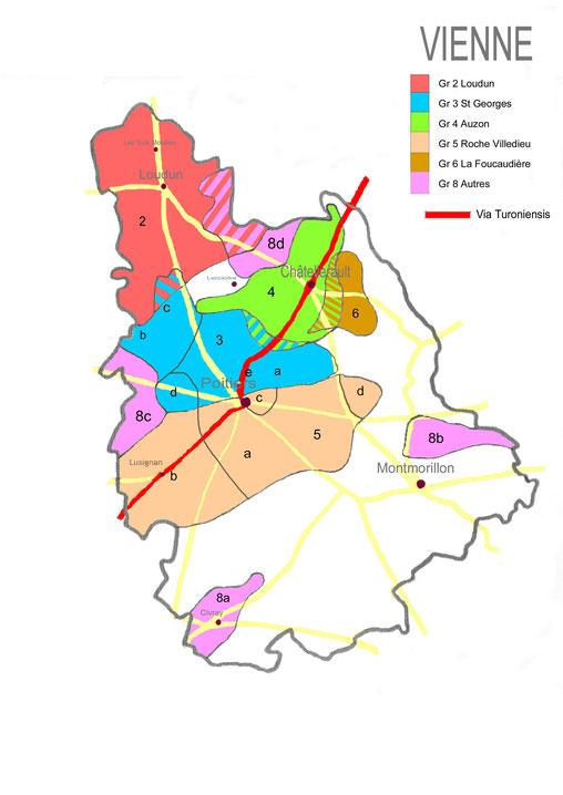 Carte montrant l'étendue des diverses commanderies maltaises de la Vienne avant 1789