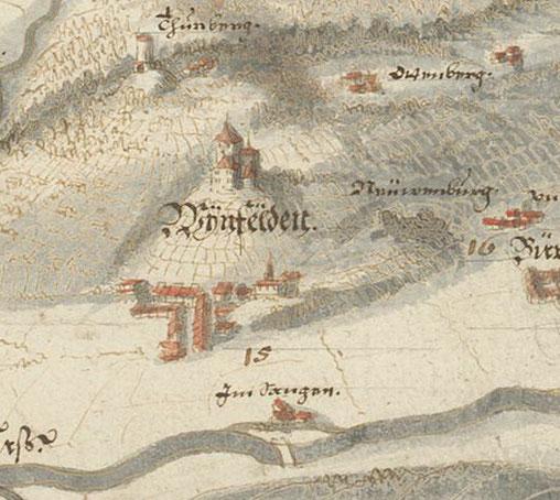 Ausschnitt aus der Thurgauer Karte von 1630 von H. C. Gyger; Zentralbibliothek Zürich