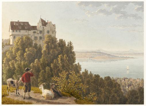Schloss Salenstein, zwischen 1803 und 1824. Aquarell und Bleistift; Collection Gugelmann; Wiki Commons