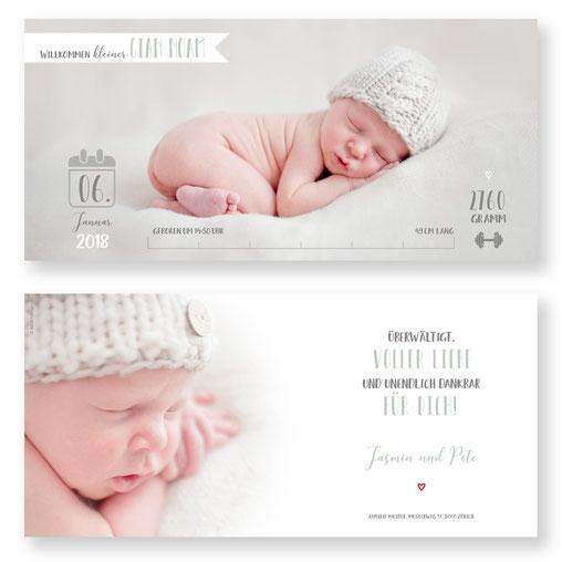 Babykarte zur Geburt. kreative Geburtskarte Geburtsanzeige kartendings.ch
