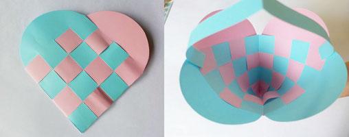 青色、ピンクの色紙を編んで作れらたハートバッグ