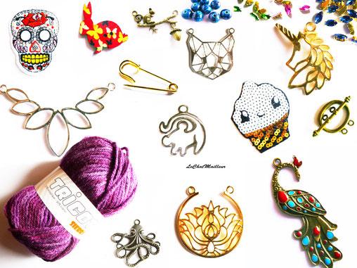 Patchs mercerie breloque bijoux connecteurs fermoirs mousquetons pelotes laine strass a coudre pendentif fourniture lotus écusson applique