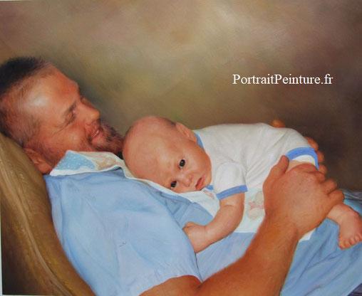 peinture-homme-portrait-papa-pere-enfant-bebe
