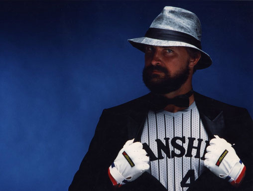 Slugger Randy Bass, 'back in the day,' shot for the magazine NUMBER, Tokyo, Japan.