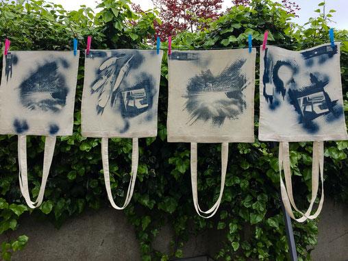 Les sacs de Sténop'Amy - 100% coton - Procédé Cyanotype -