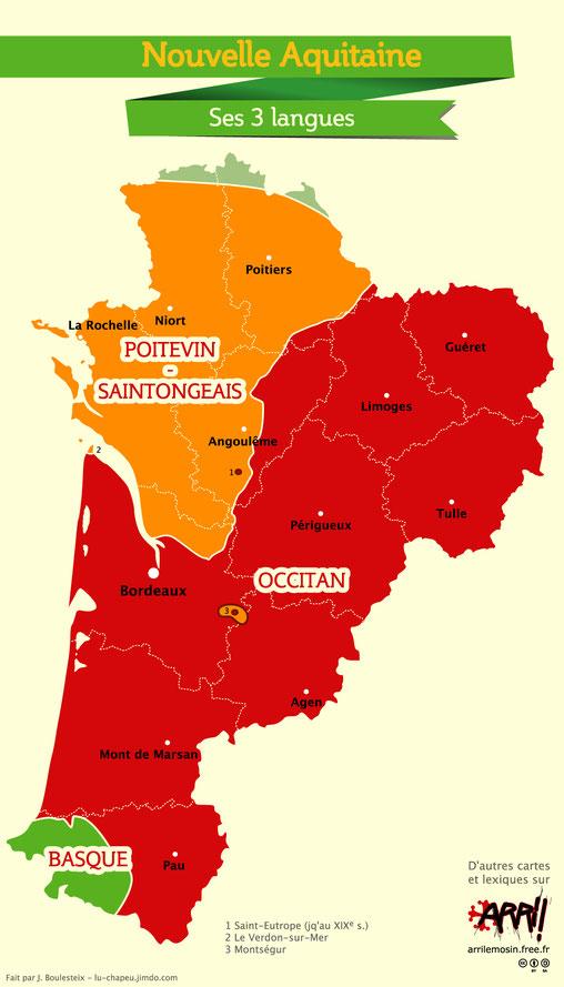 Las 3 lingas de la region Aquitania-Lemosin-Peitau-Chanrantas. Peitavin-Santongés, Occitan et Basque.