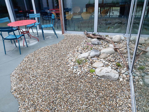 Alpiner Garten im neu gestalteten Innenhof der Kanti Schüpfheim