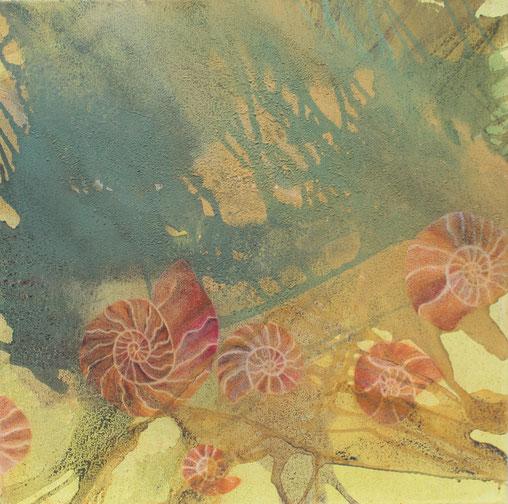 Aus der Reihe:  Erd(ge)schichten, 60 x 60 cm, Acrylfarbe, Urgesteinsmehl, Pastellstifte