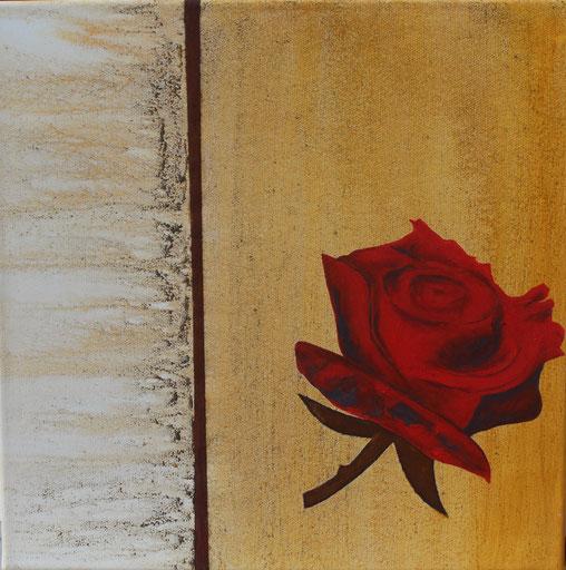 ohne Titel: 40 x 40 cm, Urgesteinsmehl, Ayrylfarbe, Rost