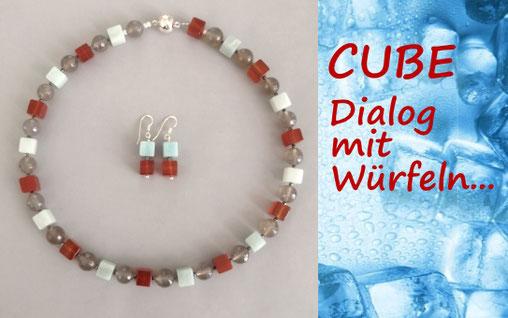 Brillenkette WEEKEND aus Onyx, Achat und Carneol mit Sterlinsilber, Perlenschmuck, Perlenkette