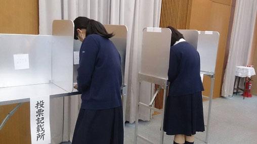 高校での模擬投票の様子(※)