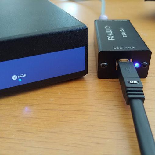 PCからMQAファイルを伝送すると、FX-D03でSPDIF変換しても問題なくMQAとして認識した。ステレオサウンド社に提供していただいたAIM電子のUSBケーブルの安定した実力を改めて確認できた。