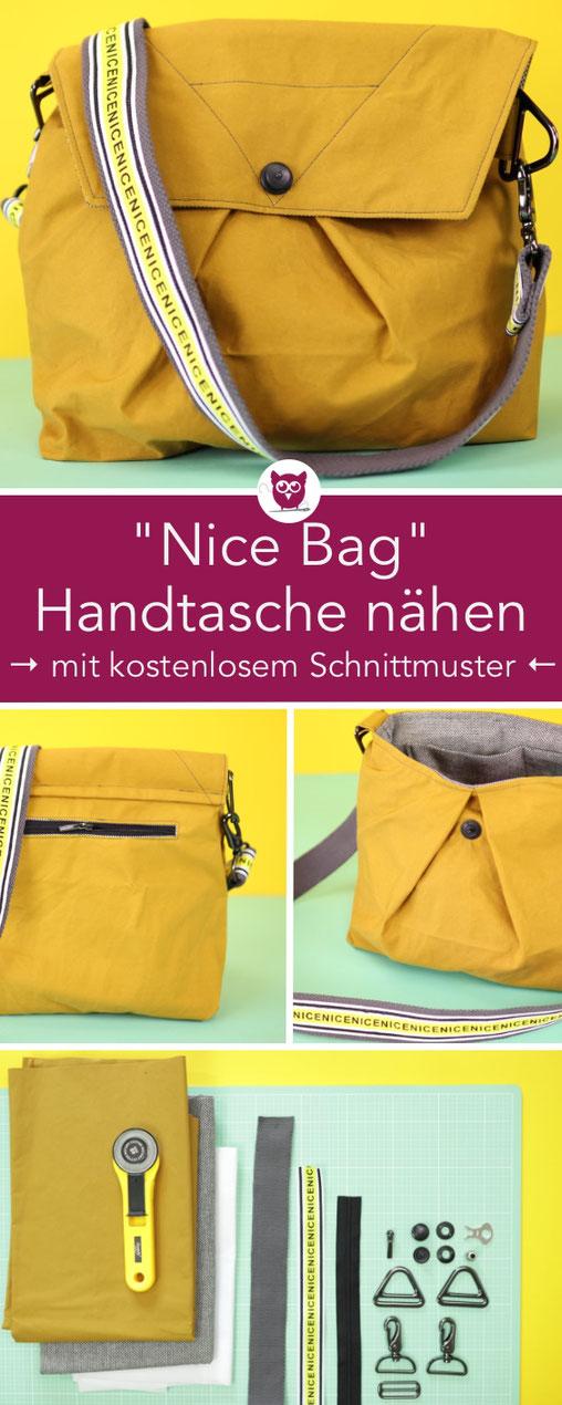 [Werbung] #NiceBag : Handtasche nähen mit kostenlosem Schnittmuster aus Oilskin mit Typo Ripsband Gurt, Innentasche, Reißverschlussfach und Loxx-Verschluss. Das Schnittmuster und die Anleitung ist von DIY Eule und gibt es kostenlos im Snaply Magazin.