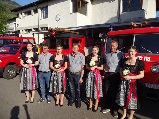 Im vergangenen Jahr gab es einige personelle Veränderungen in den Reihen der Feuerwehr. V.l.n.r.: Martin Brügger, ehem. Fw-Kommission, Emil Hüppin, Christian Bruhin, Kdt, Roland Horvath, Simon Seliner, Kdt-Stv., Richard Vogt und Walter Rothlin.
