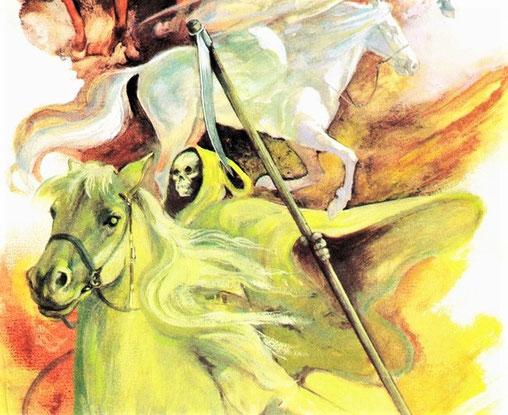 """L'agneau a ouvert le 4ème sceau, le 4ème être vivant a dit """"viens"""". Apparaît alors le 4ème cheval de couleur verdâtre qui est chevauché par la Mort elle-même. Selon d'autres traductions, le cheval est blême, pâle ou livide, cela évoque la maladie, la mort"""