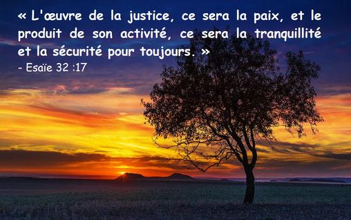 La Justice, la Paix, la Sécurité sur la terre. Ils habiteront chacun au milieu de ses vignes et de ses figuiers, et il n'y aura personne pour les troubler, car la bouche de l'Eternel, le maître de l'univers, a parlé.