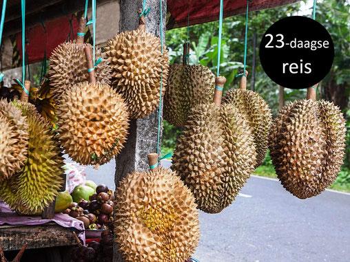 Durian in een kraampje langs de kant van de weg op Bali