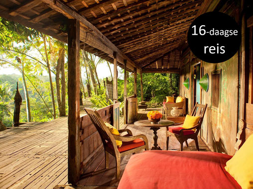 De stijlvolle inrichting en het mooie uitzicht vanuit Bambu Indah hotel in Ubud