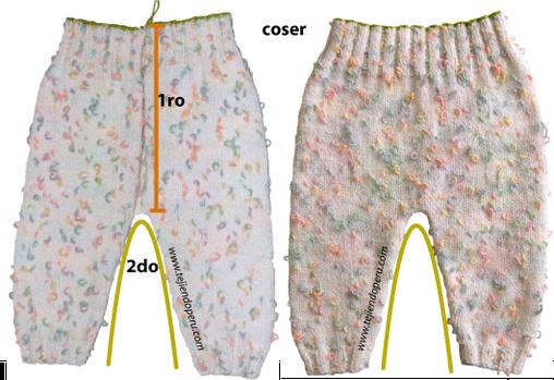 Pantalón para bebé tejido en dos agujas o palitos