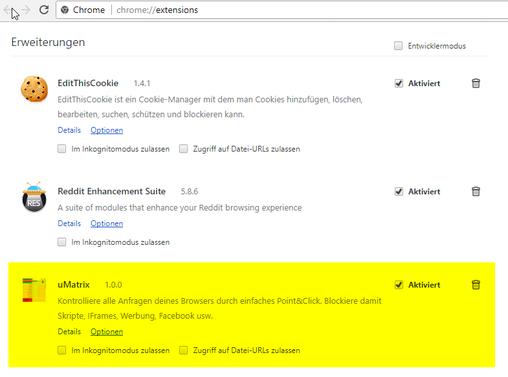 Chrome Erweiterungen mit uMatrix