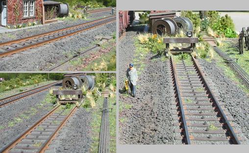 """C-Gleis optimiert: Die Böschung der Bettung ist mit NOCH Schotter in passender Körnung und Farbe in die Landschaft """"fließend"""" integriert, Gleis wie erweiterte Böschung sind danach farblich überarbeitet worden."""