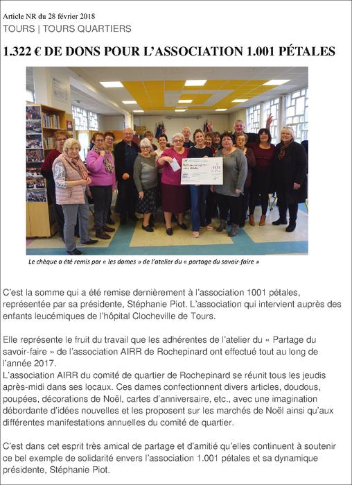 """Remise du chèque pour""""1001 pétales"""" dans notre local février 2017"""