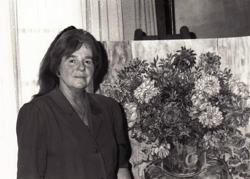 "Bettina im Solinger Atelier im ""Schwarzen Haus"", 1992"
