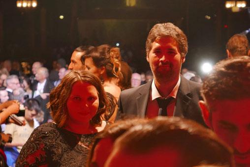 Frauke Lodders und Fabian Schmalenbach beim 29. Hessischen Film- und Kinopreis 2018
