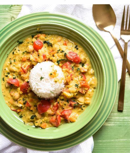 Kichererbsen Kokos Curry mit Linsen, Möhren, Tomaten, vegetarisch, Thermomix