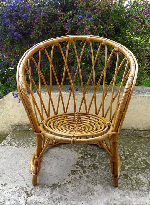 JOLI, fauteuil rotin, vintage, fauteuil années 60