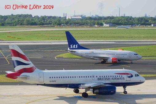 LN-RPX SAS Scandinavian Airlines Boeing 737-683 und G-EUPZ British Airways Airbus A319-131