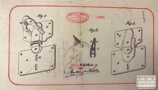 Serrure à gorge 3 gorges - 1889 Louis Vuitton ancienne