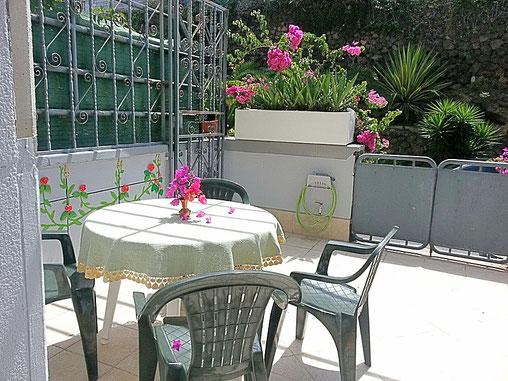 Bild und Link: Blick auf den Eingang, der mit viel Grünpflanzen bepflanzt ist, von der Ferienwohnung in Puerto de la Cruz.