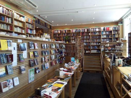 Blick in die katholische Buchhandlung in Stockholm