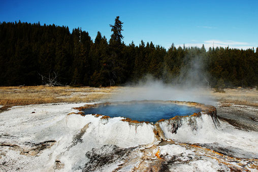 Upper Geyser Basin in Yellowstone National Park, USA, travel USA