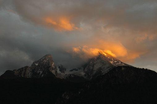 Berchtesgaden, Watzmann, Sonnenuntergang, Alpenglühen