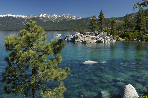 Lake Tahoe, schneebedeckte Berge, Kiefern