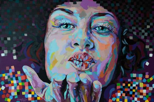 Dieses expressive Frauenporträt ist ausschließlich mit dem Malspachtel und Acrylfarben auf Leinwand gearbeitet.