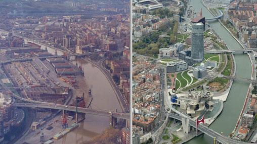Antes y después de la ría de Nervión, eje vertebrador del área metropolitana del Gran Bilbao. (Proyecto Ría 2000).
