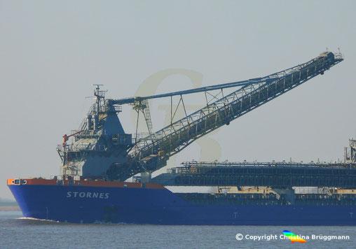 Das Förderbandsystem derFreifallrohr Schiffes STORNES