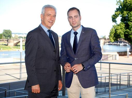 Patrick Schreiber MdL mit Ministerpräsident Stanislaw Tillich MdL 2014 in Dresden